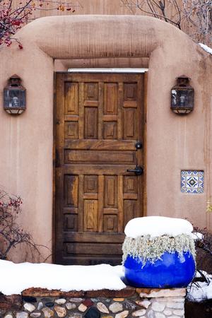 Wooden Exterior Entryway in Santa Fe, New Mexico