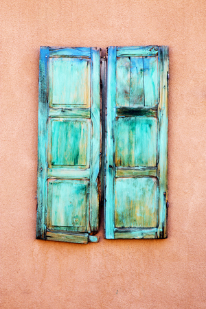 Turquoise Window Shutters in Santa Fe, New Mexico