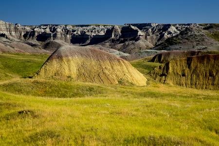 Eroding peaks and spires of the Badlands National Park South Dakota, Buffalo Gap Grasslands Imagens