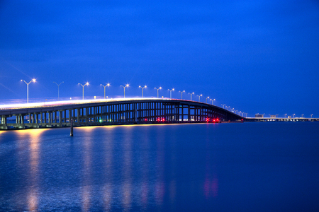 Queen Isabella Memorial Bridge at the Blue Hour from Port Isabel, Texas