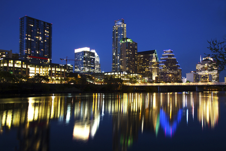 Austin Skyline Reflected in the River, Austin, Texas