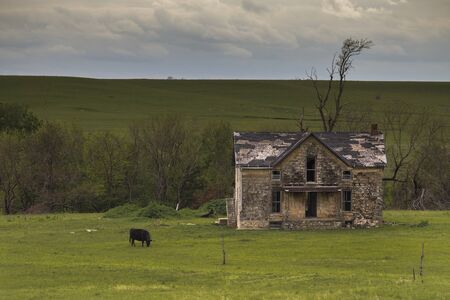 Old Rustic Farmhouse in the Flinthills of Kansas.