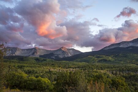 Early Autumn Sunset Going Over Kebler Pass in the Colorado Rocky Mountains Stock fotó