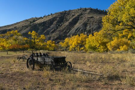 Old Rustic Wooden Farming Wagon in the Fruita District of Capital Reef National Park