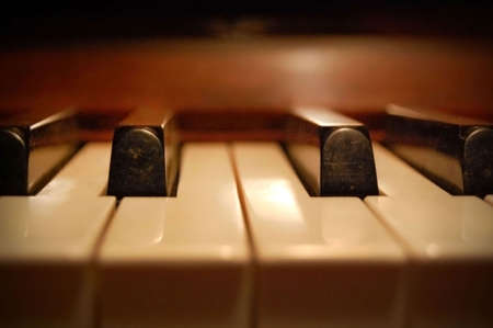 Extreme close-up of piano keys. Stock Photo