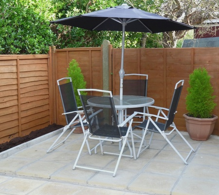 Garden furniture on patio