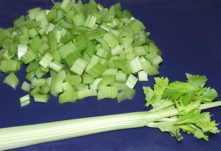 Chopped celery on board