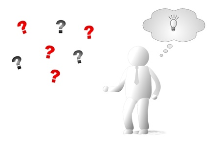 Person with questions and idea illustration