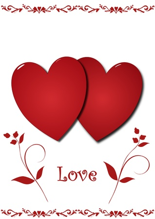 two hearts together: Love hearts illustration