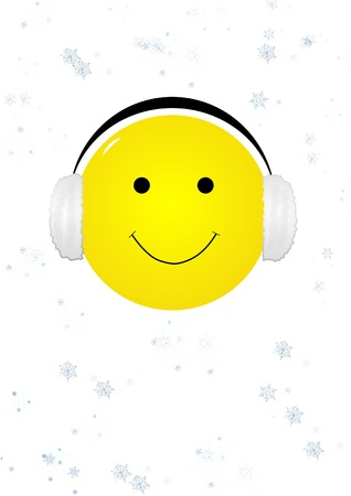 ear muffs: Smiling face with ear muffs illustration Stock Photo