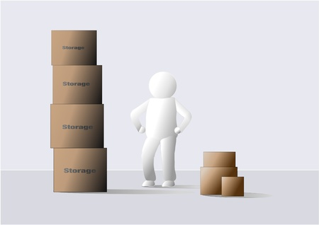 stacking: Person working with storage boxes