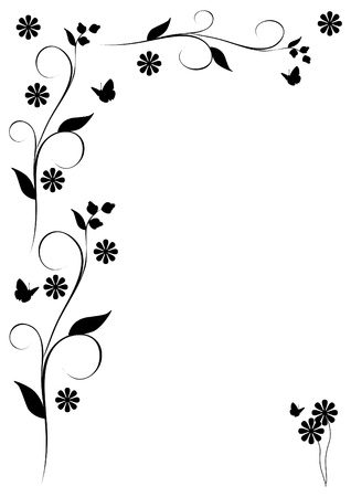 black and white flowers: Leaves, butterflies and flowers frame