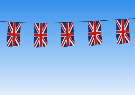 Union Jack flags flying Stock Photo