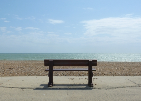 Bench on beach front