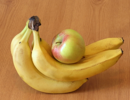 Bananas and apple fruit
