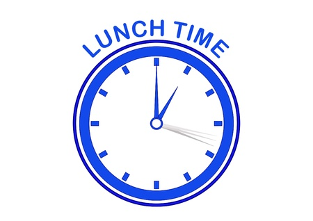 Clock showing lunch time