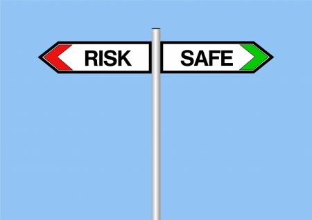 Sign showing risk or safe concept Stock Photo