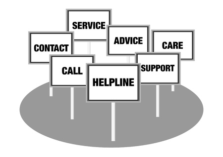 sell out: Helpline contact concept