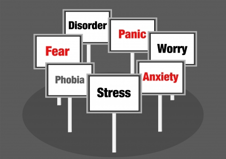 paniek: Stress en fobie illustratie