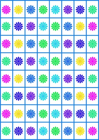 Flowers and squares illustration