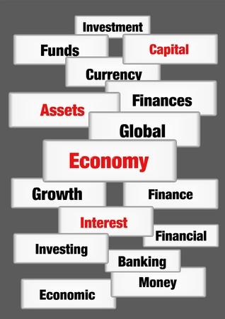 Economy finance concept words