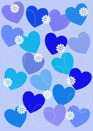 Hearts background blue photo