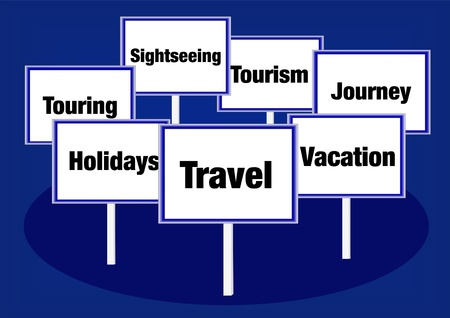 Travel vacation signs Stock Photo