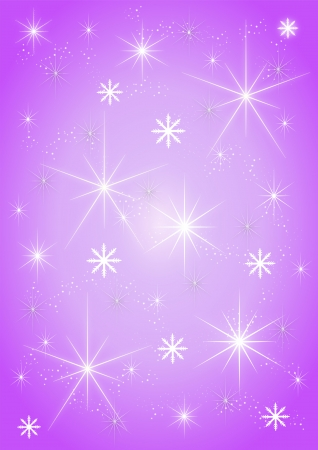Background stars and snowflakes on purple