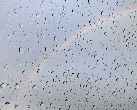 Water drops with rainbow background
