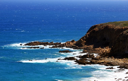 pinnacle: Vista della costa a Pinnacle Point, Mosselbay, Sudafrica Archivio Fotografico