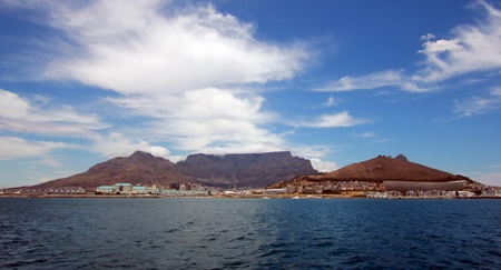 View from the ocean of Table Mountain, Cape Town, South Africa photo