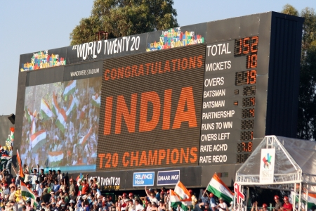 wanderers: Scoreboard at Twenty 20 cricket match in South Africa showing India had won Editorial