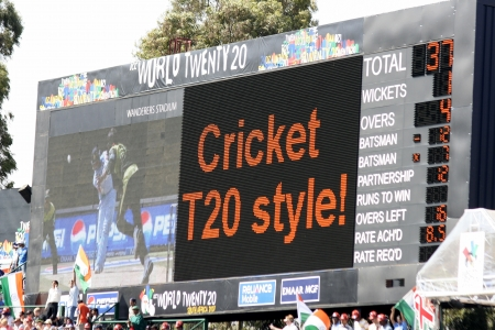 wanderers: Scoreboard at Twenty 20 cricket match in South Africa Editorial