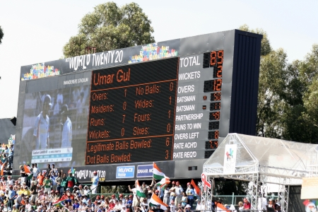 wanderers: Scoreboard at Twenty 20 cricket match at Wanderers Stadium in South Africa