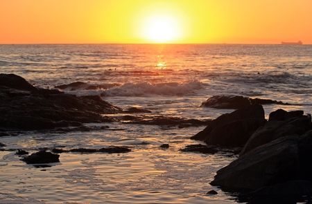 Sunrise over the ocean at Shelley Point in the West Coast of the Western Cape, South Africa Stock Photo