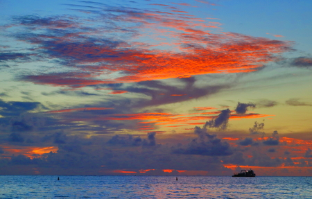 Magnificent Sunset Mon Choisy beach, Mauritius