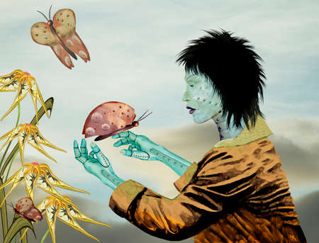 awe: Mechanical woman in awe of mechanical butterfly against soft sky background with mechanical flowers