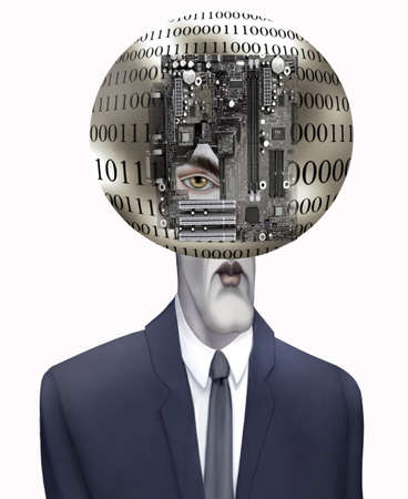 computerized: Blue blooded businessman digitalized into the technoligical age, locked into binary code Stock Photo