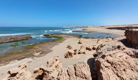 Landscapes by the ocean towards Tifnit in the south of Agadir - Morocco Foto de archivo