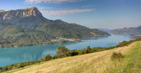 Alpine landscape - Serre-Ponçon lake in Savine