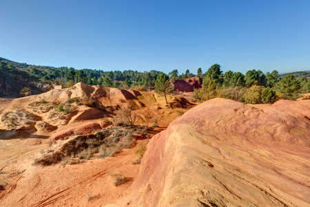Landscape of Provence - The ochres of Rustrel in the Vaucluse mountains