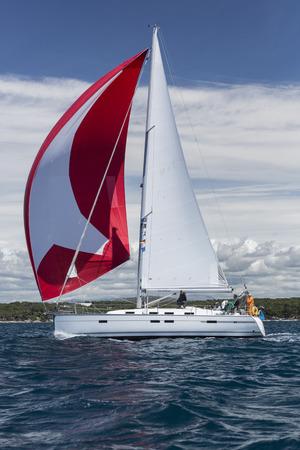 outdoor pursuit: Sailing crew on regatta on Adriatic sea