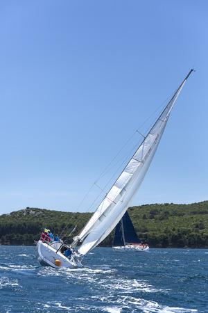 sailing crew: Sailing crew on regatta on Adriatic sea