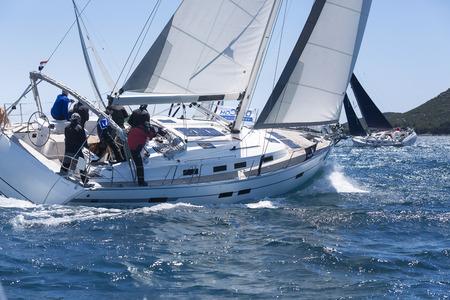 Sailing crew on regatta on Adriatic sea