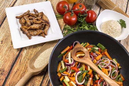 wok: Wok  with chicken and vegetables Stock Photo