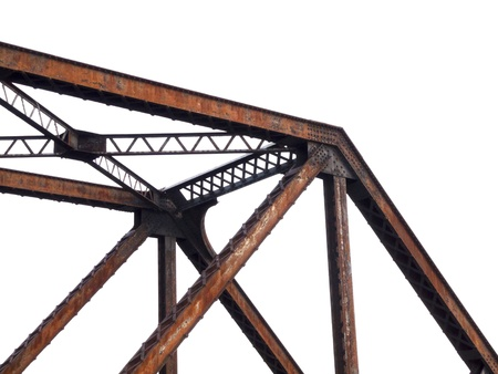 steel bridge structure on white background