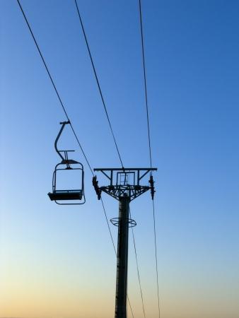 chair lift: ski chair lift on blue sky
