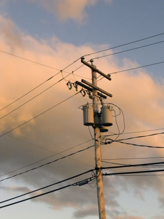 electric grid: electric wire Stock Photo