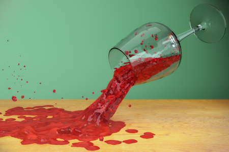 red wine stain: red wine splash on table, slow motion liquid dripping, stain drop glass