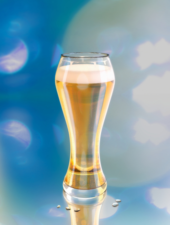 beer, blonde lager in a draft glass on blue background with bubbles on a bar or restaurant during party